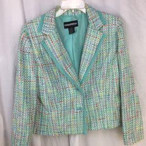 Requirements Petite multi-color Tweed jacket 12P